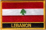 Lebanon Embroidered Flag Patch, style 09.